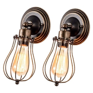 2 Pcs Vintage Industrial Wall Lamp Retro Loft Wall Light Lampshade Cage Guard Sconce Indoor Restaurant Home Decor Light Fixture