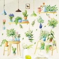 Autocollants muraux fleurs plantes pastorale DIY  pour salon chambre a coucher  doux  Art Mural  decor de maison  arriere-plan Windom  Art Mural