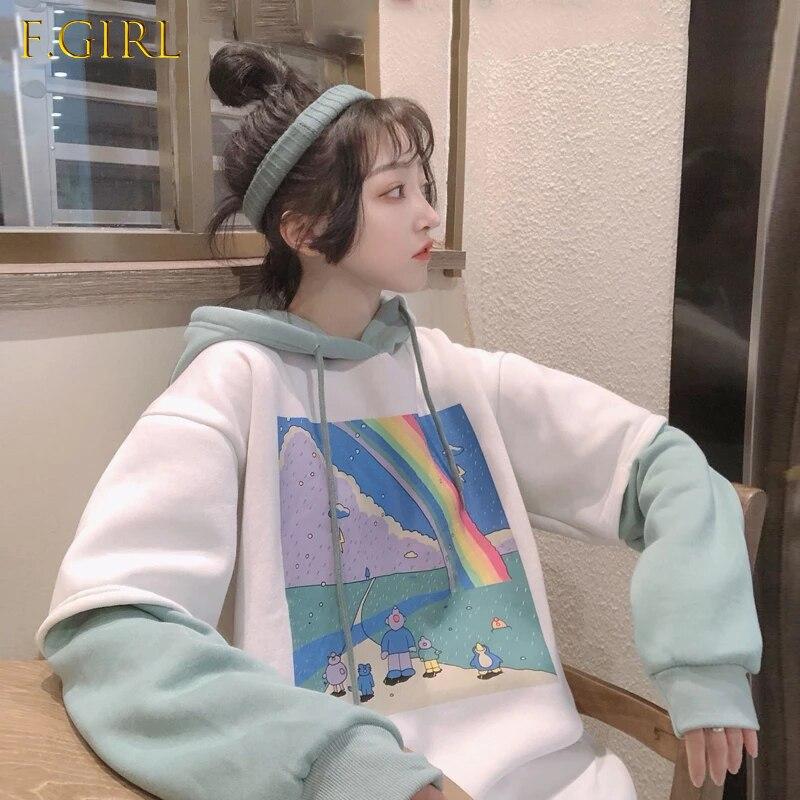 Женские толстовки с рисунком, простые толстые универсальные свободные простые корейские стильные толстовки с кулиской в стиле бойфренда, ж...