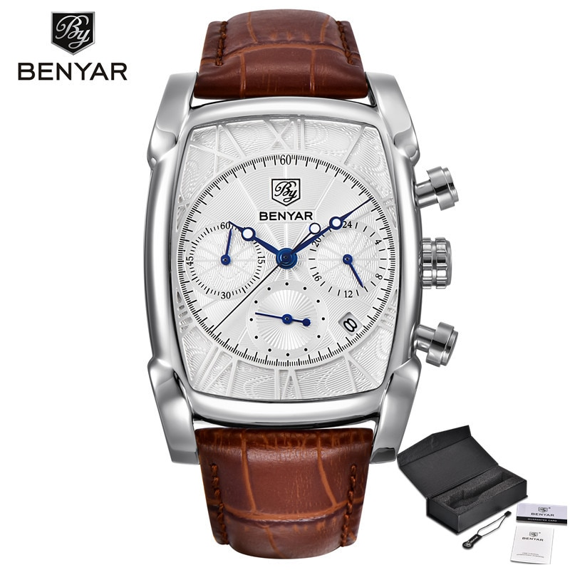 BENYAR Sports Military Men Watches 2019 Top Luxury Brand Man Chronograph Quartz-watch Leather Army Male Clock Relogio Masculino relojs watch men top brand luxury fashion man wristwatches quartz creative leather male watch big watch relogio black clock xfcs