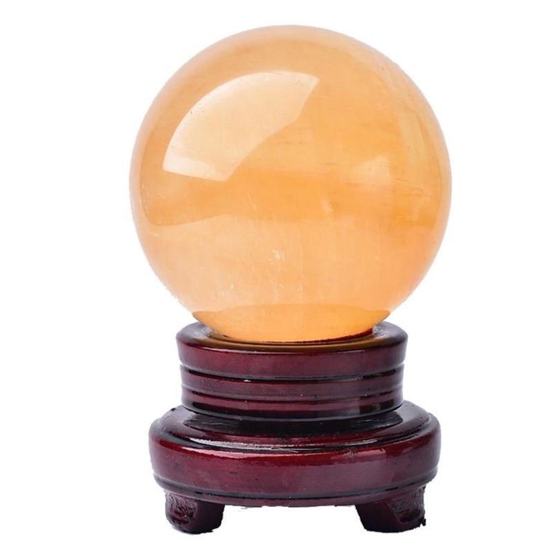 Bola de cristal de cuarzo de calcita amarilla, piedras naturales y minerales,...