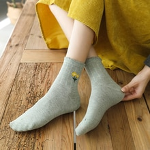 Embroidered Socks Women's Autumn and Winter Mid-Calf Length Socks Ins Trendy Pure Cotton Cute Japane