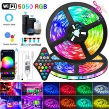 WIFI LED Strip Lights Bluetooth RGB Led light 5050 SMD 2835 flessibile 30M 25M impermeabile diodo a nastro DC WIFI 24K adattatore di controllo
