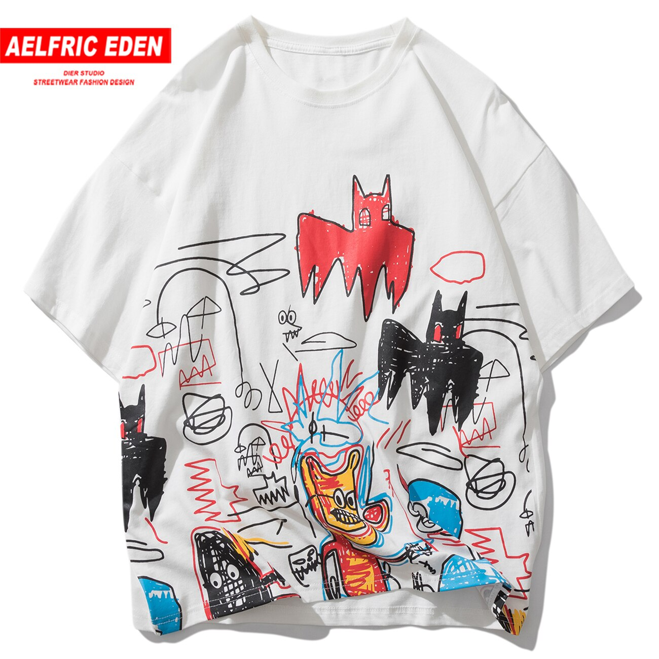 Aelfric Eden dibujo grafiti dibujo camiseta de Hip-Hop Oversize hombres 2020 verano Harajuku algodón manga corta Camisetas Streetwear
