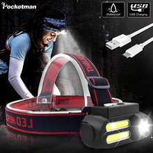 Le plus lumineux Portable 2 * COB LED lampe frontale travail lumière étanche phare utilisation 18650 batterie USB Rechargeable phare
