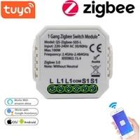 Tuya Zigbee Module de commutateur intelligent sans neutre ue 220V 2 voies interrupteur de lumiere sans fil relais disjoncteur fonctionne avec Alexa Google Home