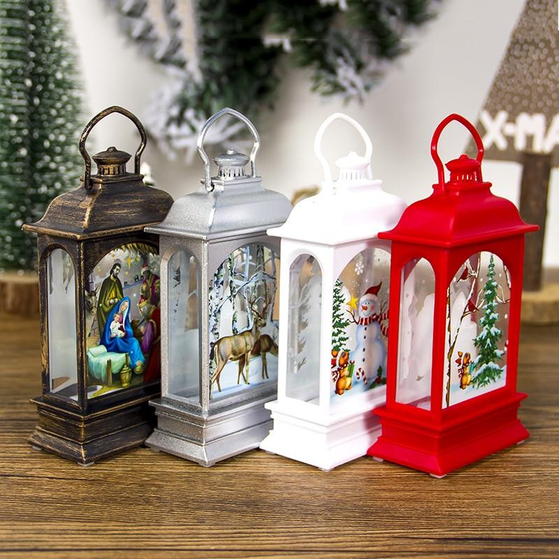 LAPHIL Navidad luz LED Casa Santa muñeco de nieve árbol de Navidad colgantes adornos decoraciones de Navidad para el hogar niños regalo de Año Nuevo
