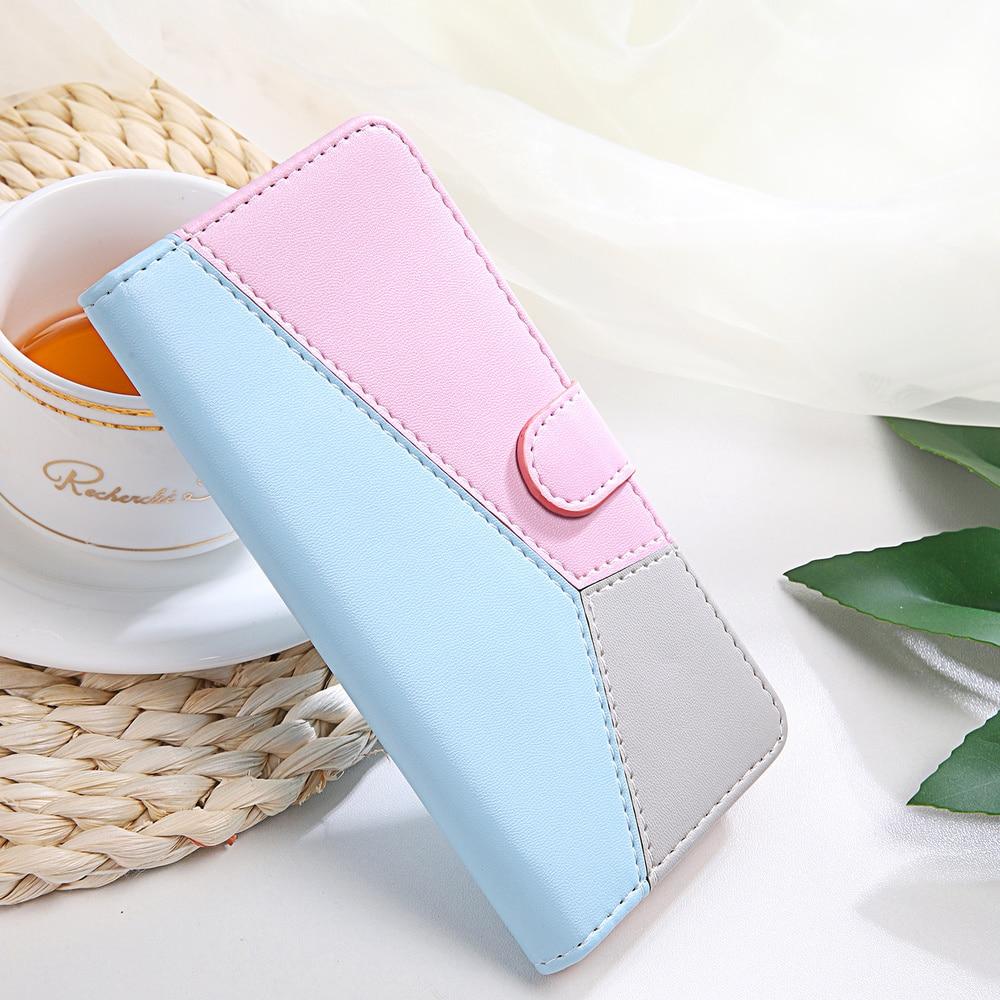 Tri-color de empalme Flip funda para Xiaomi K20 Pro Cc9 Redmi Note 4x4 5x5x6x5 6 s 7s 8 s 8 Pro de lujo billetera tarjeta de teléfono caso 360