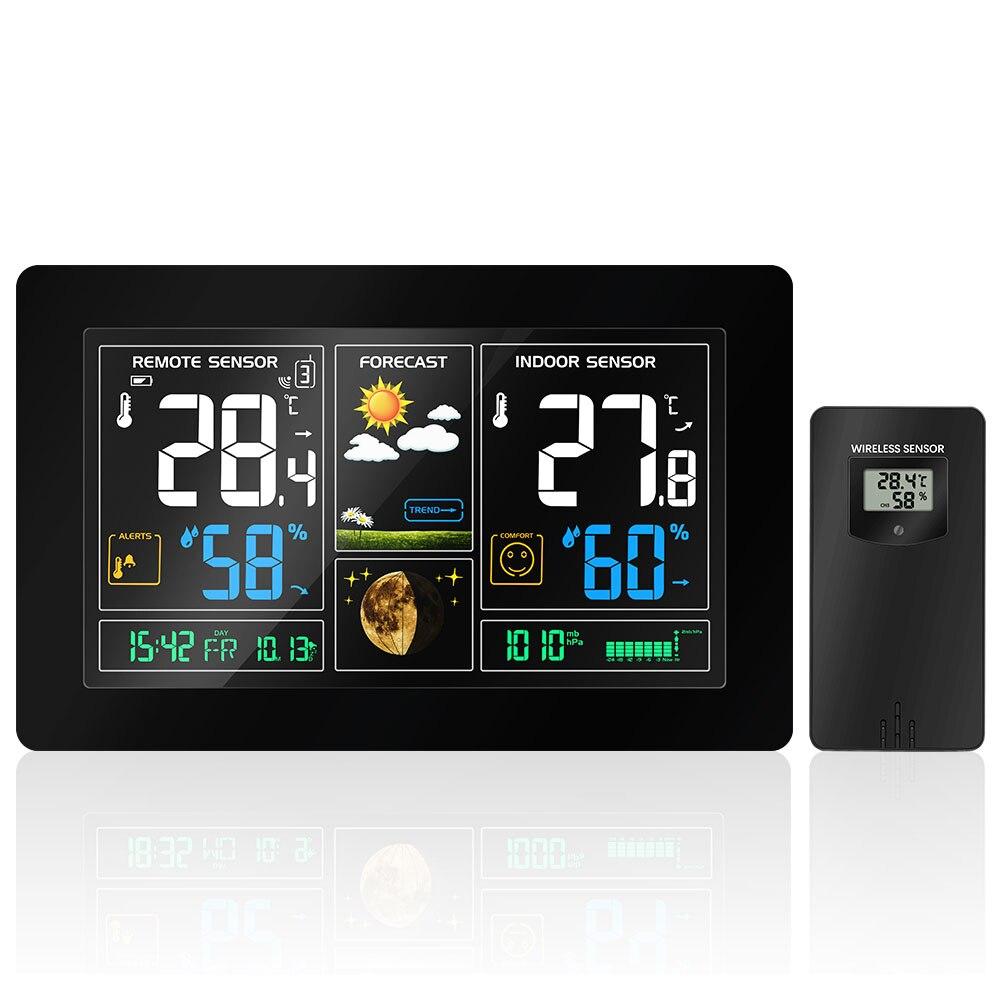 Enchufe europeo inalámbrico estación meteorológica Sensor de humedad de temperatura pantalla colorida LCD pronóstico del tiempo reloj RCC en/al aire libre
