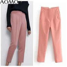 AOMO fashion women pink candy color suit pants trousers high waist pockets buttons 2020 new office lady pants pantalon 6A141A