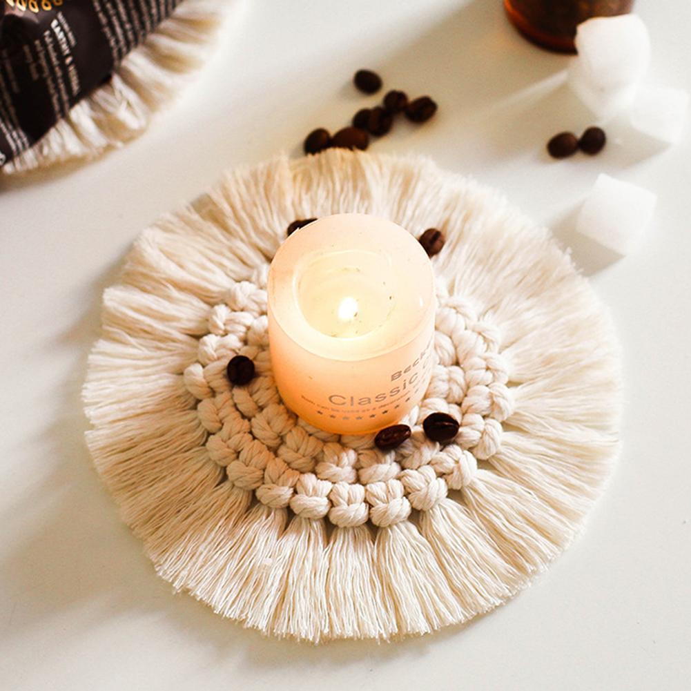 Nórdicos Macrame taza cojín mantel estilo bohemio tapete de mesa hecho a mano puro trenza algodón no aislamiento antideslizante esteras para Vela de la cocina