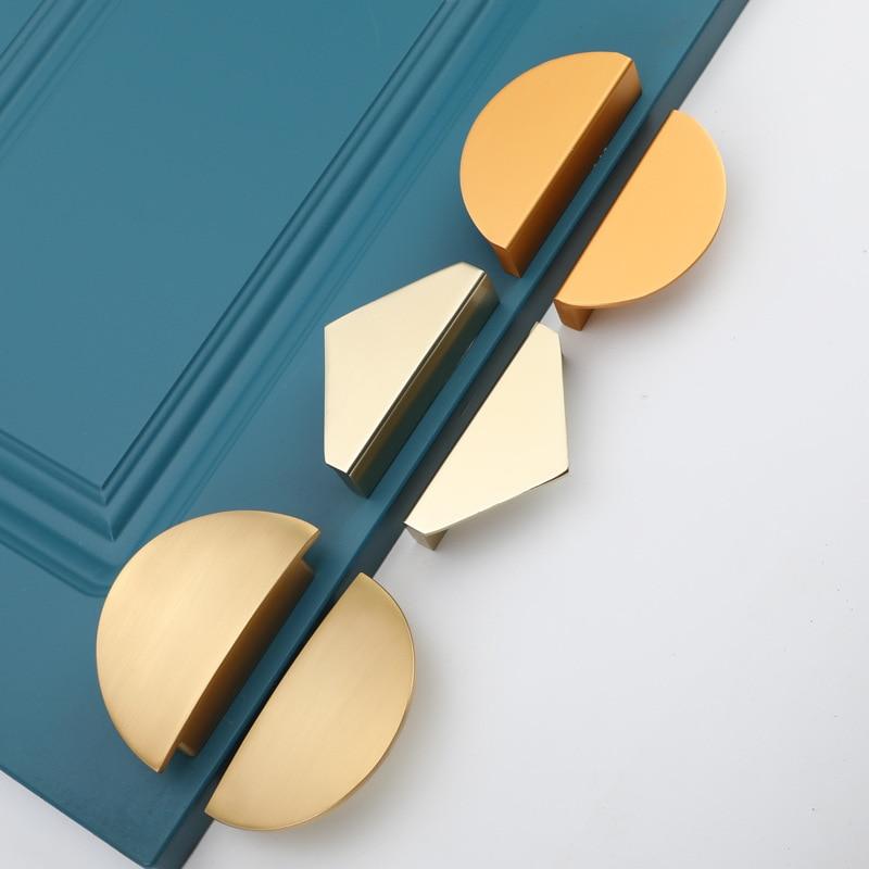 Space Aluminum Triangle Multicolor Cabinet Drawer Handle Semicircle Modern Simple Black Golden Door