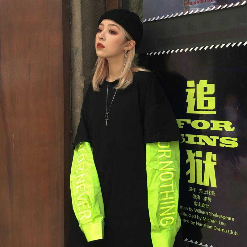 Nicemix ulzzang mulheres preto t camisas harajuku rua punk tumblr bordado feminino t topos coreano oversize único casal clothe