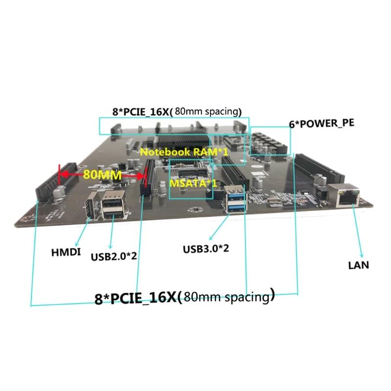 NEW B75 BTC Mainboard Professional Bitcoin Mining Motherboard 8 Graphics Card Slot DDR3 Memory LGA 1155 Pin CPU for Miner enlarge