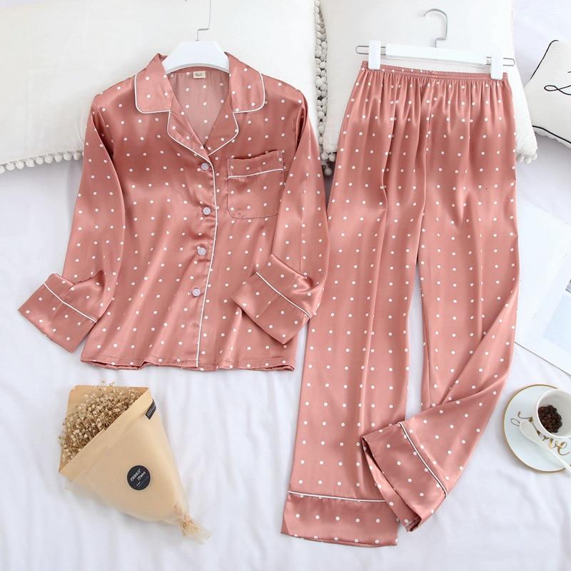 Lisacmvpnel Long Sleeve Pajamas Autumn Ice Silk Long Sleeve Trousers Suit Printing Fashion Pyjamas Set