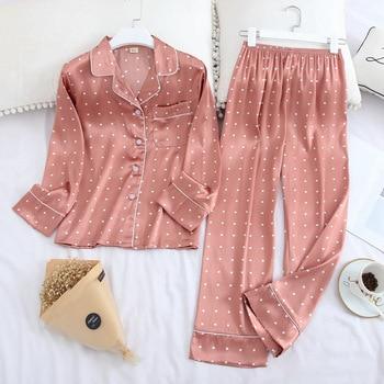 Lisacmvpnel Pyjamas à manches longues automne glace soie à manches longues pantalon costume impression mode Pyjamas ensemble