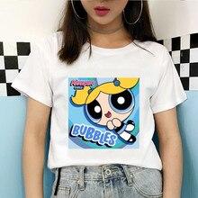 2020 New Summer Kawaii White Tops Powerpuff T Shirt Girls Harajuku Funny Cartoon Printed Cute T-shirts Womens Drop Shipping