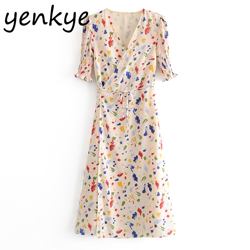 Multicolor Print Wrap Dress Sundress Women V Neck Short Sleeve Dress Sexy Slits  A-line  Summer Chiffon Dresses rebe femme