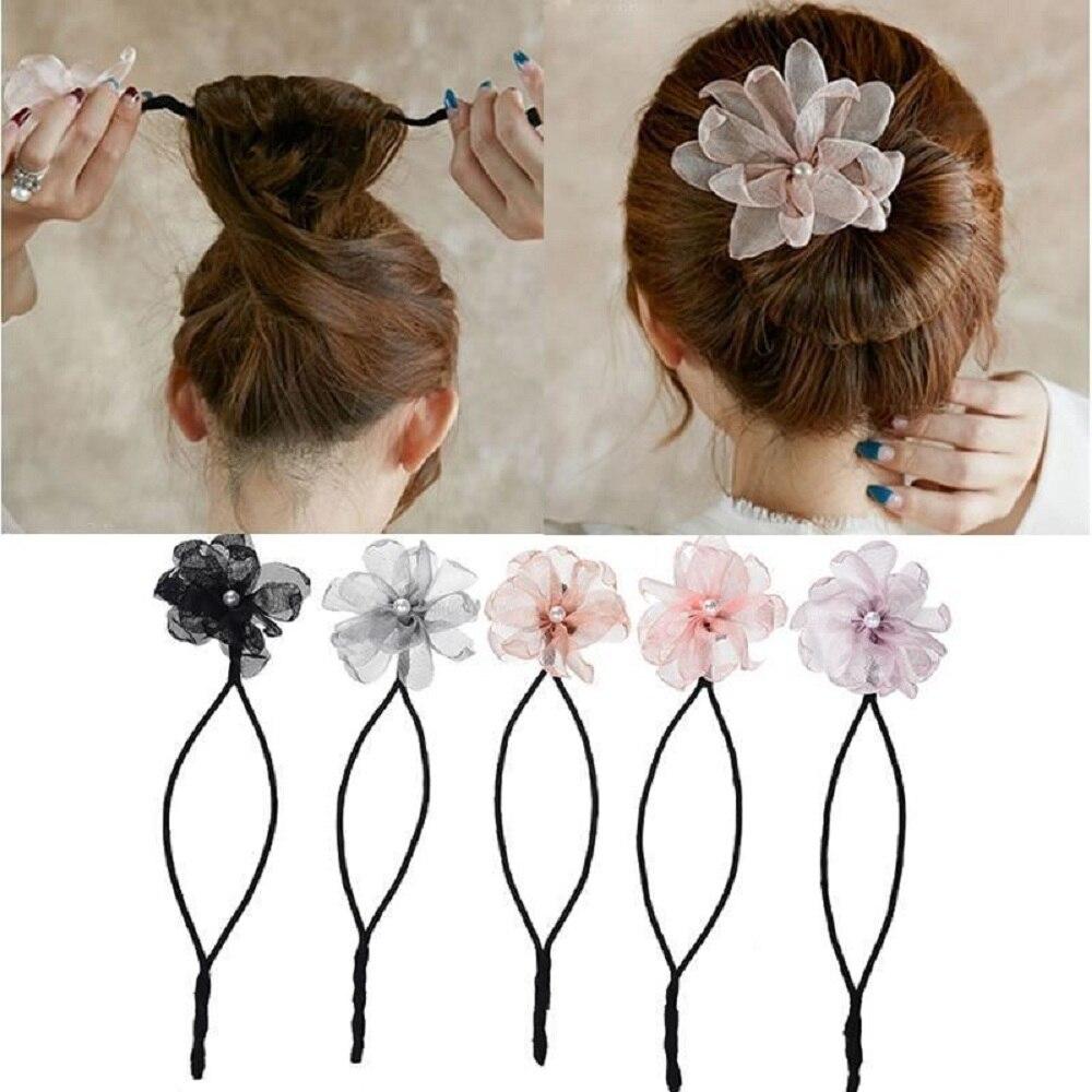 Женская повязка на голову с цветами, пончиками, волшебная заколка для пучка волос, инструмент для прически «сделай сам», жемчужная французс...