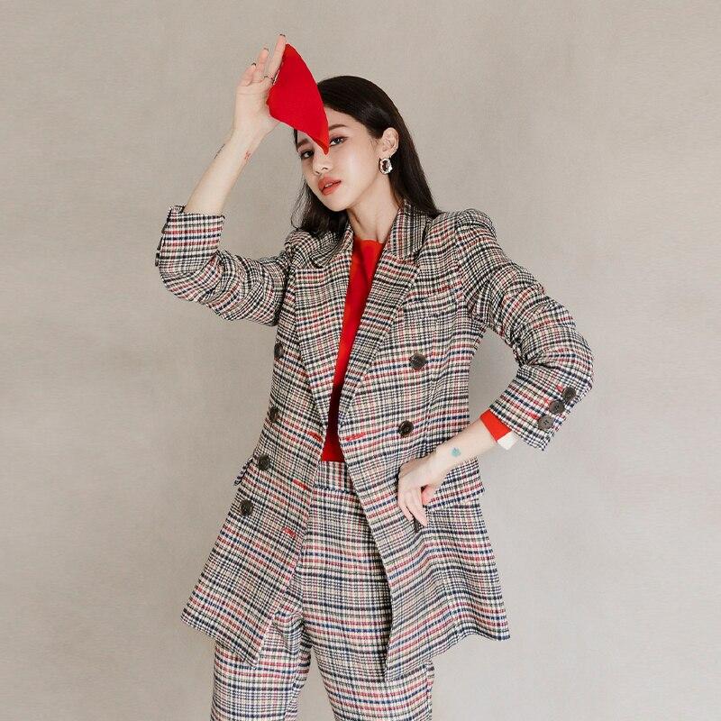 Spring Autumn Women's Plaid Suit British Style Pantsuit Double Breasted 2 Piece Set Slim Blazer High Waist Pants Korean Clothes