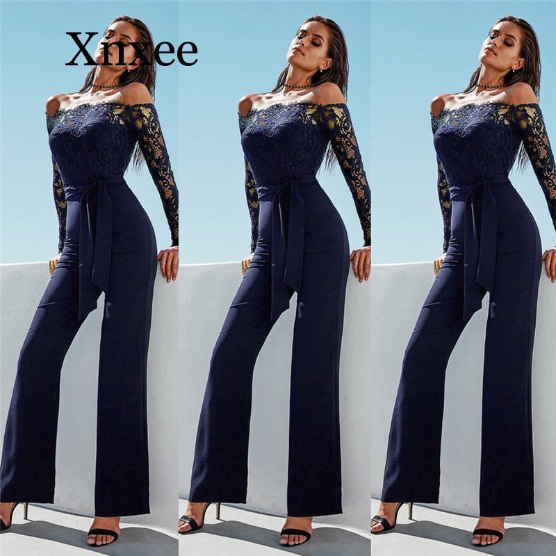 Lace Patchwork Jumpsuit Hollow Out High Waist Lace-up Wide Leg Pant Jumpsuit Elegant Slash Neck Off Shoulder Long Sleeve Women