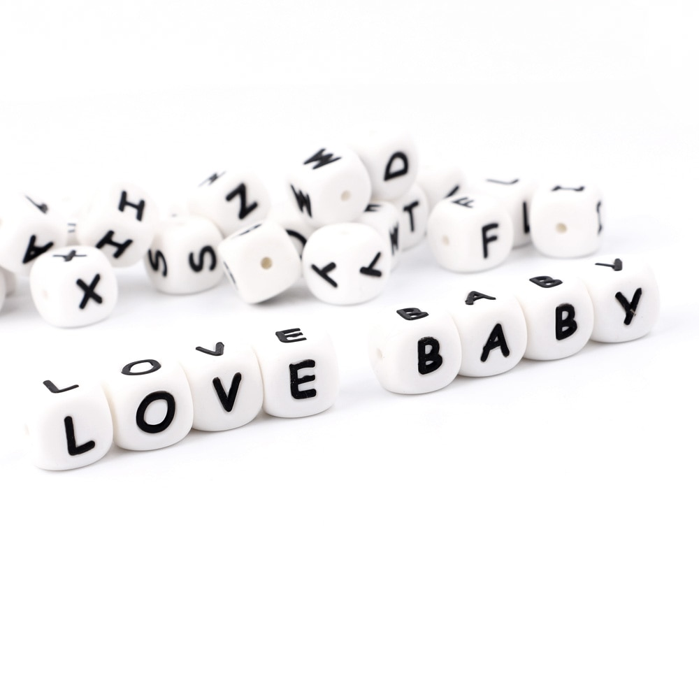 TYRY.HU 100Pc Chewing Silicone Beads BPA-Free 12mm Alphabet Letter Beads For Teething Baby Pacifier Chain Accessories