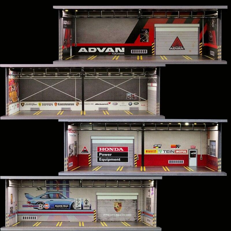 Диорама 1/64 модель автомобиля гараж светодиодное освещение USB разъем Упаковка слот дисплей Porsche/Advan/Honda/ремонт