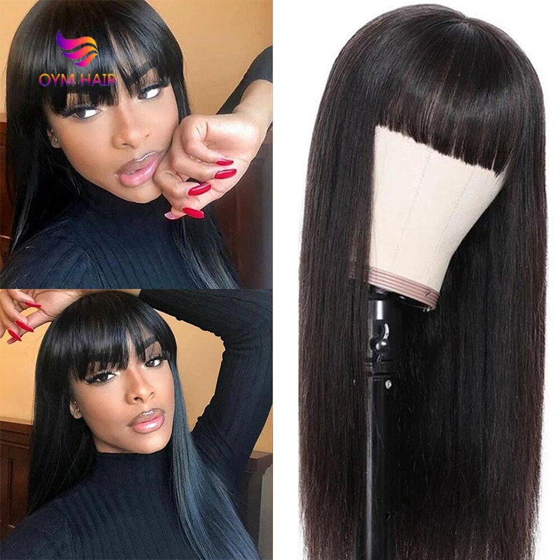 Brazilian Straight Human Hair Wigs With Bangs Remy Full Machine Made Human Hair Wigs For Black Women 8-26 Inch Fringe Wig