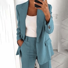 2021 New Womens Loose Blazer Jacket Top Long Sleeve Casual Fashion Button Solid Jacket Office Ladies