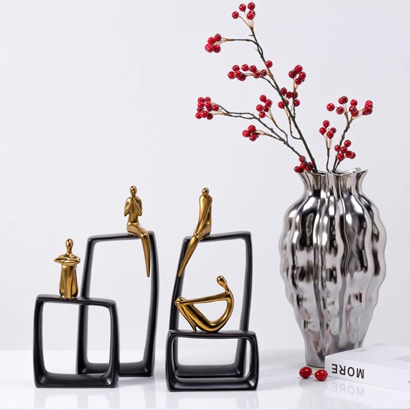 Decoração de Casa Imagem Abstrata Escultura Acessórios Estátua Decoração Arte Moderna
