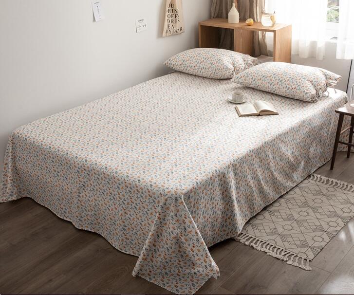 1 pieza de fruta Loquat hoja plana 100% algodón sábana impresión ecológica funda de cama suave sin fundas de almohada Ins caliente
