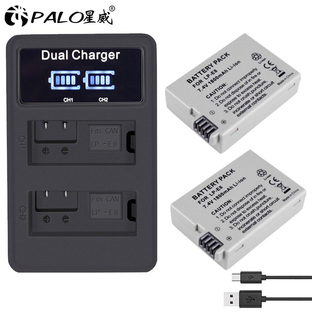 PALO-Paquete de batería LPE8 LP-E8, LP-E8 LP E8 para Canon 550D 600D...