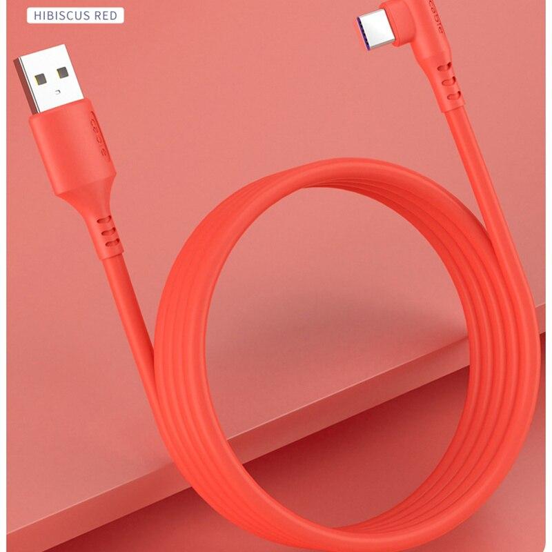 10 قطعة 5A 90 درجة شحن سريع TYPC-C USB كابل السائل سيليكون البيانات لهواوي P20 30 P40PRO لسامسونج