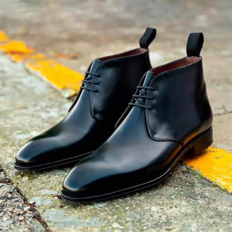 2021 New Men Shoes Fashion Trend Business Casual All-match Handsome Black PU Classic Lace-up Comfort