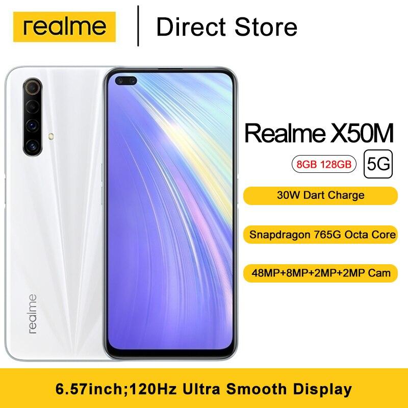 Realme x50m moblie telefone 6.57 Polegada snapdragon 765g octa núcleo 48mp câmera traseira 4200mah 8gb ram 128gb rom smartphone