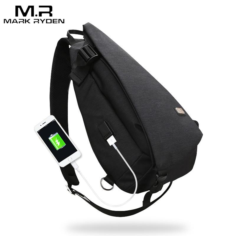 Nueva llegada de Mark Ryden bolsa de pecho de alta capacidad de diseño USB para hombre bolsa de bandolera traje para 9,7 pulgadas almohadilla repelente al agua bolsa de hombro
