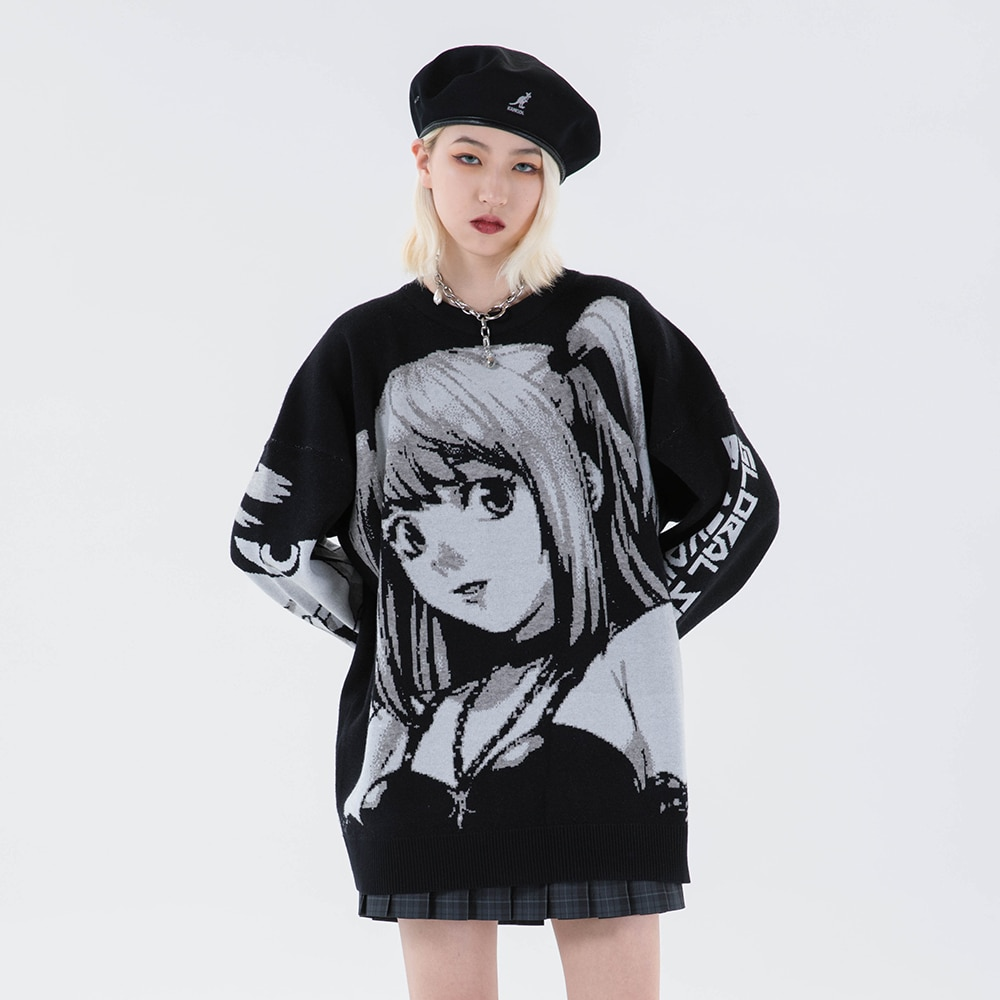 Knitted Harajuku Winter Clothes Women 2020 Oversized Sweaters Long Sleeve Top Gothic Fashion Japanese Kawaii Cartoon Streetwear