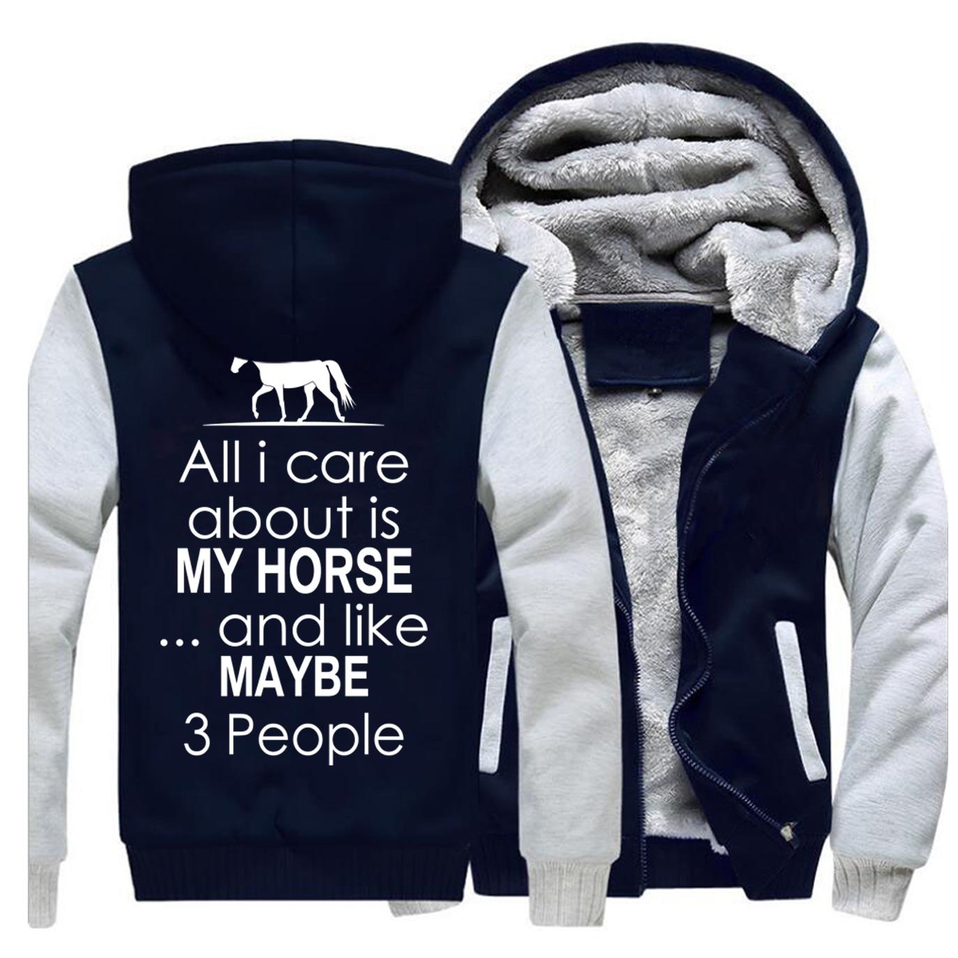 Wszystko, co dbam o to, czy mojego konia I podobnego przestępstwa może być 3 osób druku bluzy z kapturem bluza 2019 zima kamizelka moda zipper Streetwear