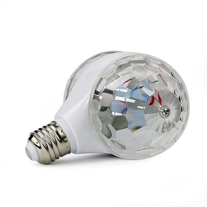 Автоматический вращение кристалл сцена эффект свет 6 Вт E27 RGB двойной голова дискотека светодиод DJ вечеринка лампа декор праздник рождество день рождения