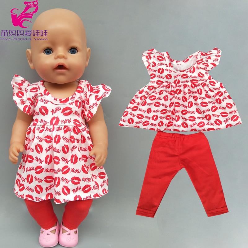 """Ropa de muñeca bebe, Vestido camisero con estampado de labios rojos, regalo para niños, ropa de muñeca de 18 """", Pantalones"""