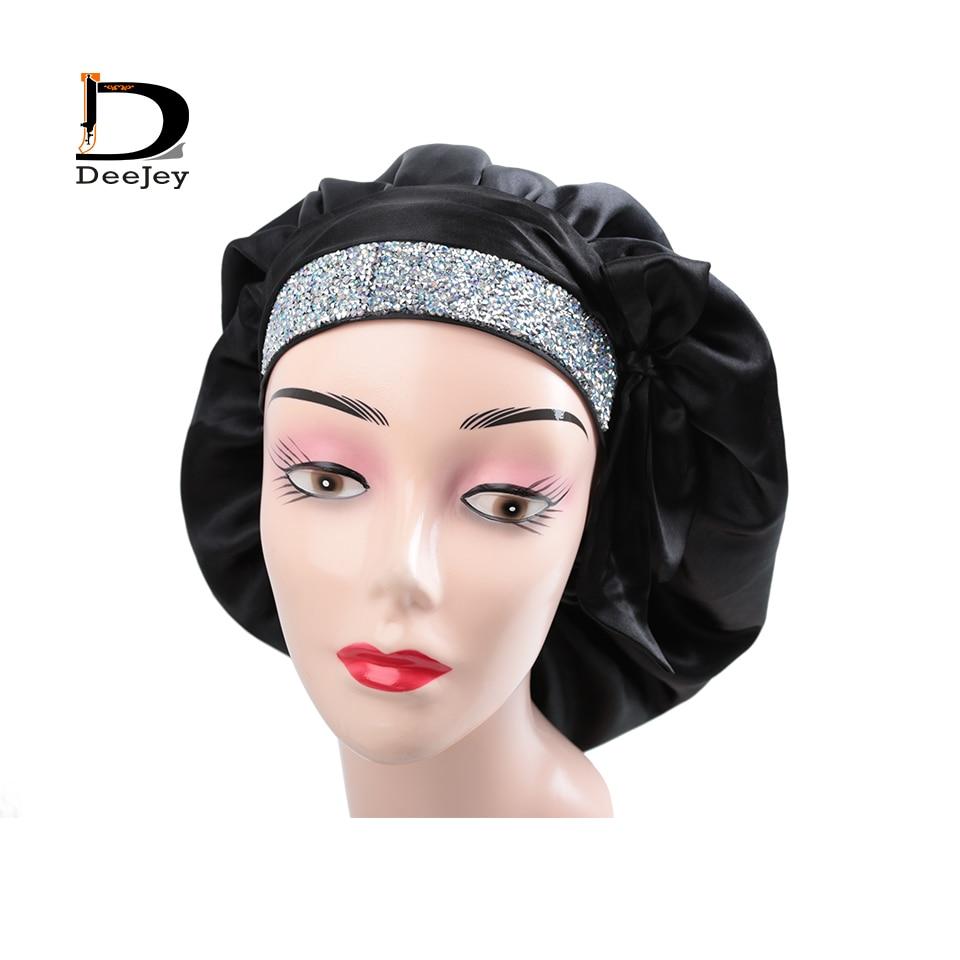 غطاء رأس ساتان مزين بأحجار الراين ، قبعة لامعة مصممة ، بيع بالجملة