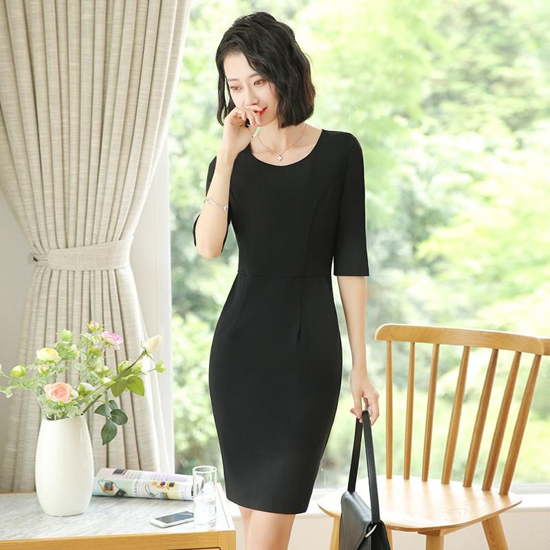 Workwear Business Apparel Dress Half Sleeve Goddess Temperament Beauty Salon Jewelry Shop Interview