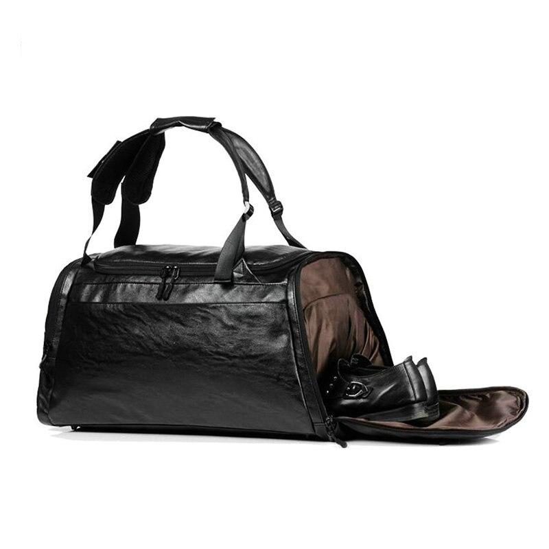 Спортивные сумки, кожаный спортивный рюкзак, мужской, черный, большой, ПУ, тренировочная сумка через плечо, женский, коричневый, для йоги, фит...