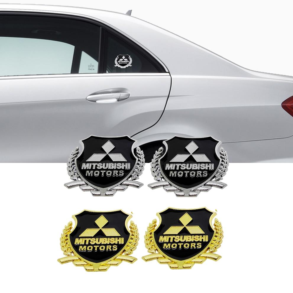 Insignia emblema de Metal de estilo de coche para Mitsubishi RALLIART ASX Lancer L200 Pajero Outlander Eclipse Galant pegatina decoración de ventana