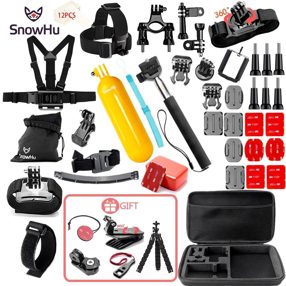 SnowHu Action Camera Accessory for GoPro Hero 8 7 6 5 4 Black Xiaomi Yi 4K Lite SJCAM SJ7 Eken H9 Go Pro Mount for Sony Set GS21