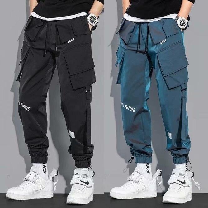 Осенние новые стильные комбинезоны ICCLEK, свободные мужские повседневные брюки, брюки, уличная одежда, брюки в стиле панк, джоггеры