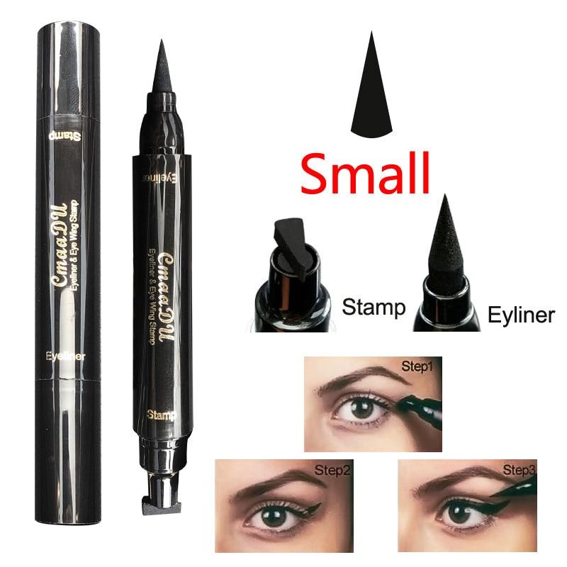 Newly Double Ended Eyeliner Pencil Waterproof Makeup Wing Shape Black Eye Liner Stamp Cosmetic CLA88