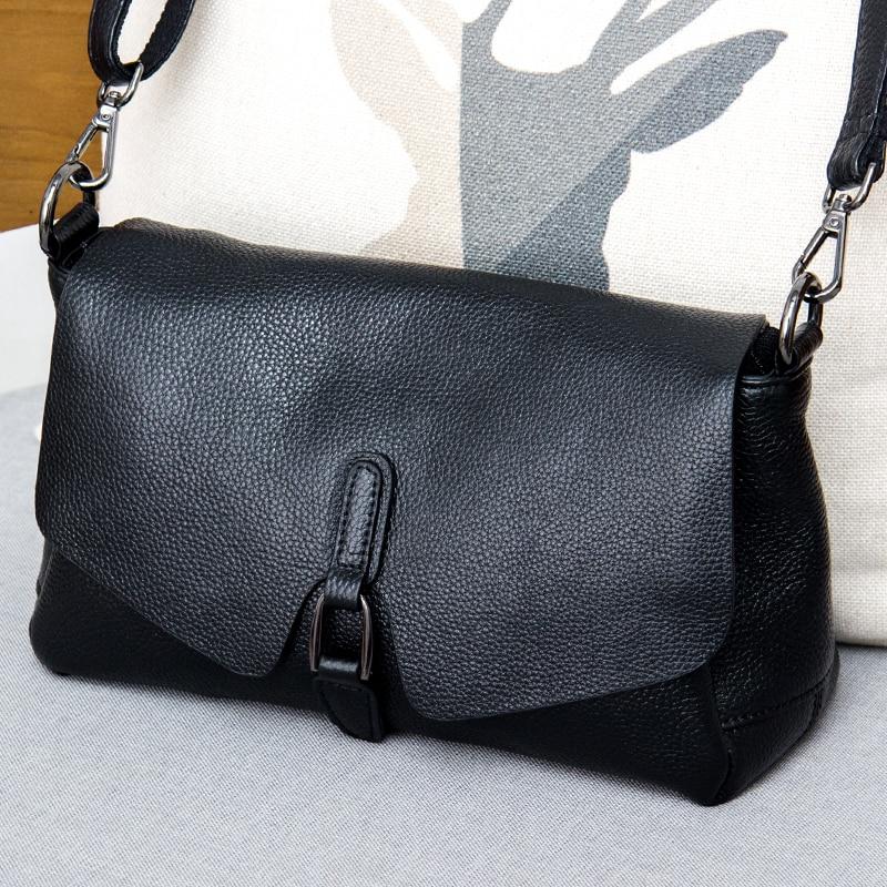 حقيبة يد جلدية نقية 2019 جديد جلدية الكتف حقيبة ساعي الموضة الإناث البرية الملمس الطبقة الأولى حقيبة جلدية محمولة