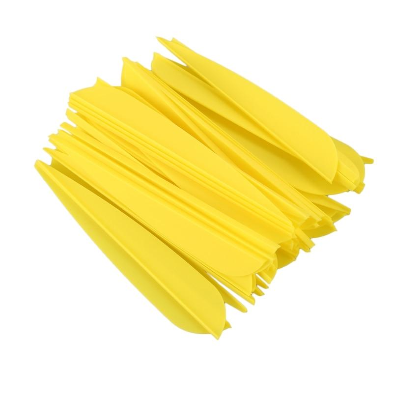 Flechas de 4 pulgadas remeras de plumas de plástico para flechas de Tiro con Arco DIY 50 paquetes (amarillo)