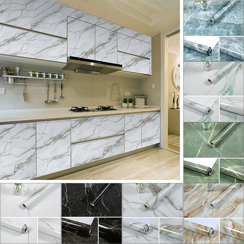 1/3/5/10M Kitchen Marble Contact Paper PVC Wall Stickers Marble Cabinet Countertop Stickers Self Adhesive Waterproof Wallpaper